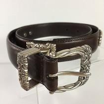 Fossil Brand Sz S Brown Leather Concho Style Western Scrollwork Belt K2 Photo