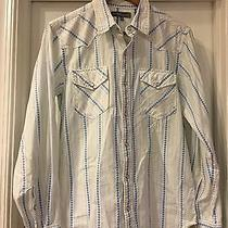 Fossil Brand Vintage Fit Striped Pearl Snap Long Sleeve Casual Shirt M Retro Photo
