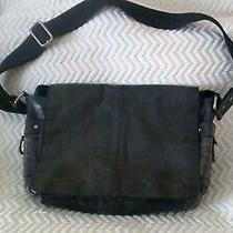 Fossil Brand Vintage Green Leather Messenger Bag Briefcase Crossbody Work Travel Photo