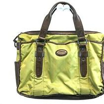 Fossil Briefcase Attache Laptop Bag Green Nylon Brown Leather - Repaired Photo