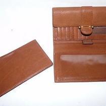 Fossil British Tan Check Book Wallet Coin Purse Euc Photo