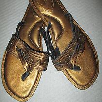 Fossil Bronze Leather Luella Flat T-Strap Sandals 9 M  Photo