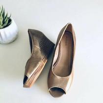 Fossil Bronze Leather Peep Toe Wedge Sz 6 Preppy Heel Photo
