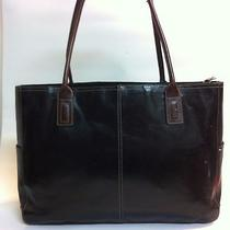 Fossil Brown and Black Leather Executive Briefcase Tote Purse Bag Photo