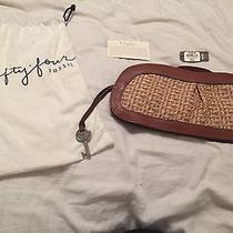 Fossil Brown and Woven Clutch Photo