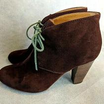 Fossil Brown Ankle Lace Up Oxford Booties Block Heel Size 7.5 M  / Eu 38  Photo