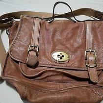 Fossil Brown Beige Vintage Leather Messenger Bag Photo