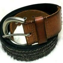 Fossil Brown &black Genuine Leather Belt With Sequin and Beads Size M Photo