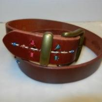 Fossil Brown Bridle Leather Belt Sz M Colorful Thread Accents Photo