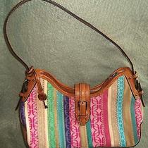 Fossil Brown & Bright Colors Striped Leather & Fabric  Shoulder Handbag Bag Photo