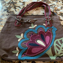 Fossil Brown Canvas Bag or Purse With Burgendy & Turquoise Flowers Photo