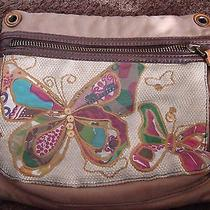 Fossil Brown Canvas & Leather Embroidered Butterfly Bag Pouch Purse Photo