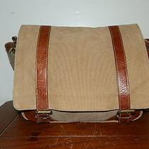 Fossil Brown Canvas Leather Laptop Bag Crossbody Messenger Bag Organizer Photo