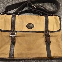 Fossil Brown Canvas Messenger Laptop Work Bag Briefcase 198 Photo
