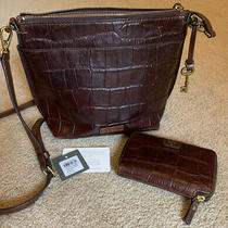 Fossil Brown Cordovan Leather Croc Shoulder Crossbody Handbag and Wallet Photo