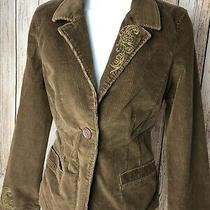 Fossil Brown Corduroy Jacket Blazer Womens Large Embroidered Casual Zip Front Photo
