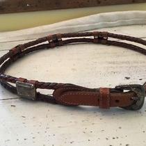 Fossil Brown Cowhide Leather Braided  Belt W/ Silver Medallions - Medium Photo