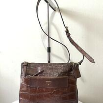 Fossil Brown Croc Leather Crossbody Shoulder Bag Purse Handbag Photo