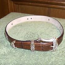 Fossil  Brown Croco Embossed Croc/gator Leather Belt With Concho's Women Size S Photo