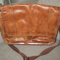 Fossil Brown Distressed Leather Shoulder Laptop Messenger Bag Briefcase 13x17