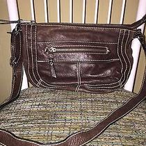 Fossil Brown Distressed Leather Small Crossbody Bag Photo