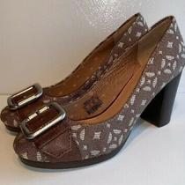 Fossil Brown Fabric Buckle Toes Classic Pumps Womens Size 8.5 M Photo