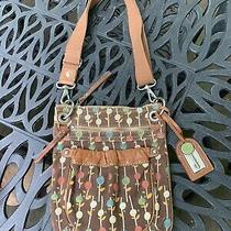 Fossil Brown Floral Canvas/leather Messenger/crossbody/tote/purse W/key Fob Euc Photo
