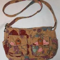 Fossil Brown Floral Corduroy Cross Body Shoulder Bag Handbag Purse Pocket Book Photo
