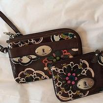 Fossil Brown Flower Design Wristlet and Coin Card Keeper Photo