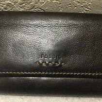 Fossil Brown Genuine Leather Clutch Checkbook Wallet Id Credit Card Holder Photo