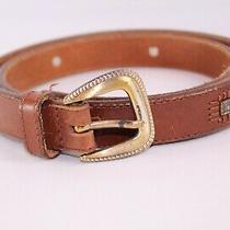Fossil Brown Genuine Leather Gold Metal Women Belt Sz L 35