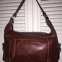 Fossil Brown Genuine Leather Hobo Shoulder Bag Handbag Purse Tote Photo