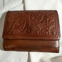 Fossil Brown Genuine Leather Trifold  Wallet W/ Embossed Flap Free Shipping Photo