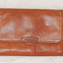 Fossil Brown Glove Leather Wallet Organizer Trifold Caramel Brown Photo