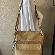 Fossil Brown Handbag Cancas Shoulder Bag Crossbody Purse Bag Photo