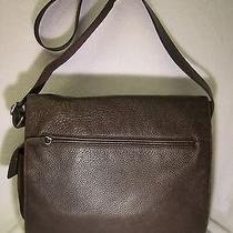 Fossil Brown Leather and Microfiber Unisex Messenger/crossbody Bag Photo