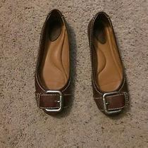 Fossil Brown Leather Ballet Flats With Silver Buckle Size 7 Euc  Photo