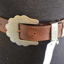 Fossil Brown Leather Belt Classic Western Scrolled Silvertoned Buckle 29-33 S-M Photo