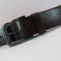 Fossil Brown Leather Belt Dark Silver Buckle Size 36 293 Photo