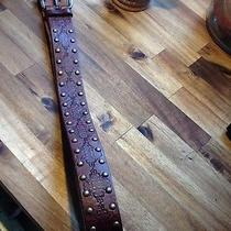 Fossil Brown Leather Belt W/braid & Stud Detail Women's Size Med Bt6328200 Photo