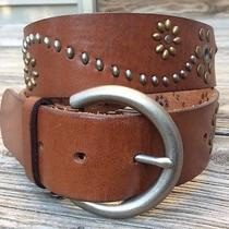 Fossil Brown Leather Belt W/braid & Stud Detail Women's Size Small Bt2933231 Photo