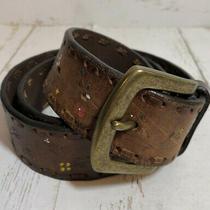Fossil Brown Leather Belt W/mini Flower Sz M Bronze Buckle 1.5 Wide Flexible Photo