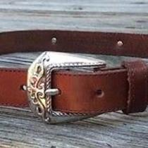 Fossil Brown Leather Belt W/silver Tone Conchos Women's Size Small Bt2183 Photo