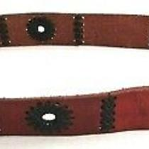 Fossil Brown Leather Belt Women's Size Medium Black Stitching & Detail  Photo
