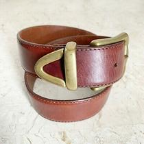 Fossil Brown Leather Belt Womens Size S Solid Brass Buckle Tip & Keeper Photo