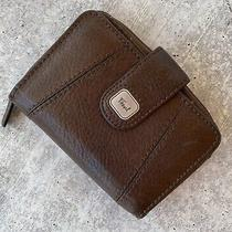 Fossil Brown Leather Bifold Wallet Snap Flap Closure Photo