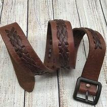 Fossil Brown Leather Braided Belt Size 36 Photo