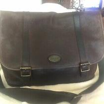 Fossil Brown Leather Briefcase Crossbody Messenger Bag W Adjustable Strap Photo