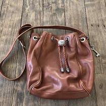 Fossil Brown Leather Bucket Bag Cinch Top Western Shoulder Purse Crossbody  Photo