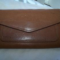 Fossil Brown Leather Check Book Wallet Clutch Purse Photo